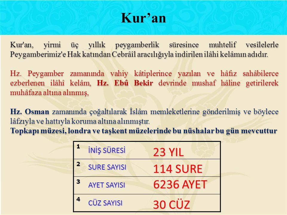 Kur'an 23 YIL 114 SURE 6236 AYET 30 CÜZ