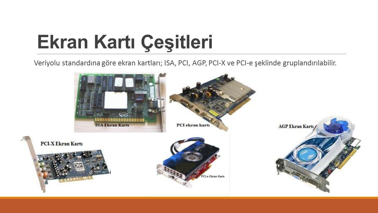 Ekran Kartı Çeşitleri Veriyolu standardına göre ekran kartları; ISA, PCI, AGP, PCI-X ve PCI-e şeklinde gruplandırılabilir.