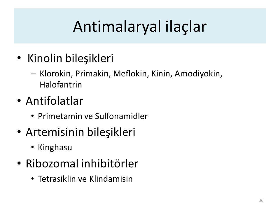Antimalaryal ilaçlar Kinolin bileşikleri Antifolatlar