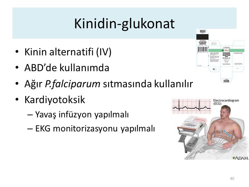 Kinidin-glukonat Kinin alternatifi (IV) ABD'de kullanımda