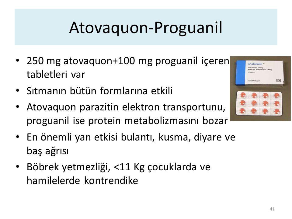 Atovaquon-Proguanil 250 mg atovaquon+100 mg proguanil içeren tabletleri var. Sıtmanın bütün formlarına etkili.