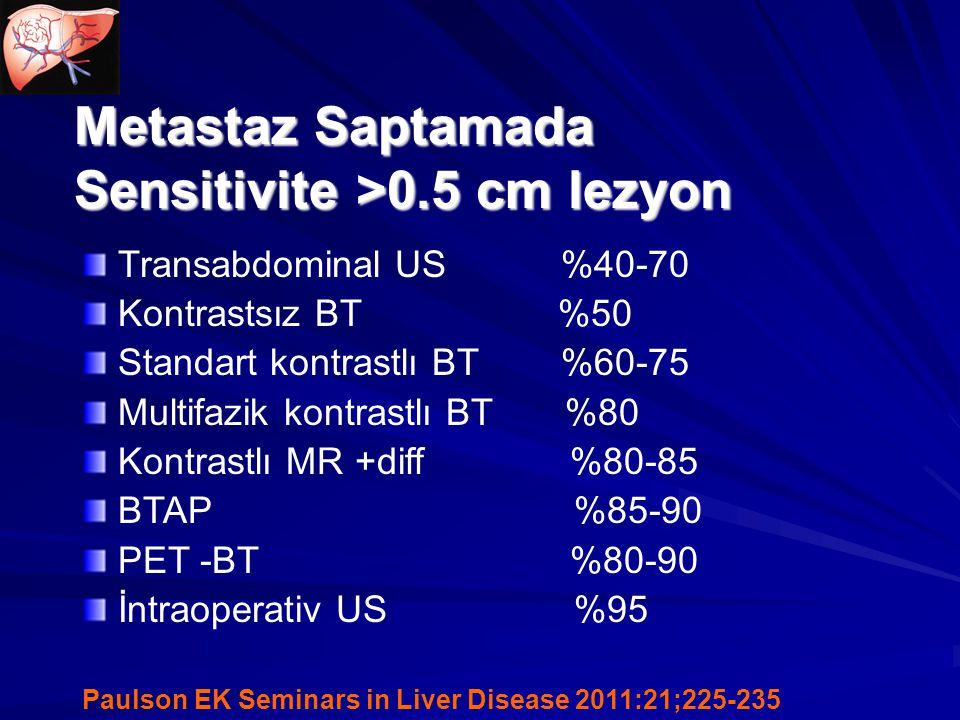 Metastaz Saptamada Sensitivite >0.5 cm lezyon