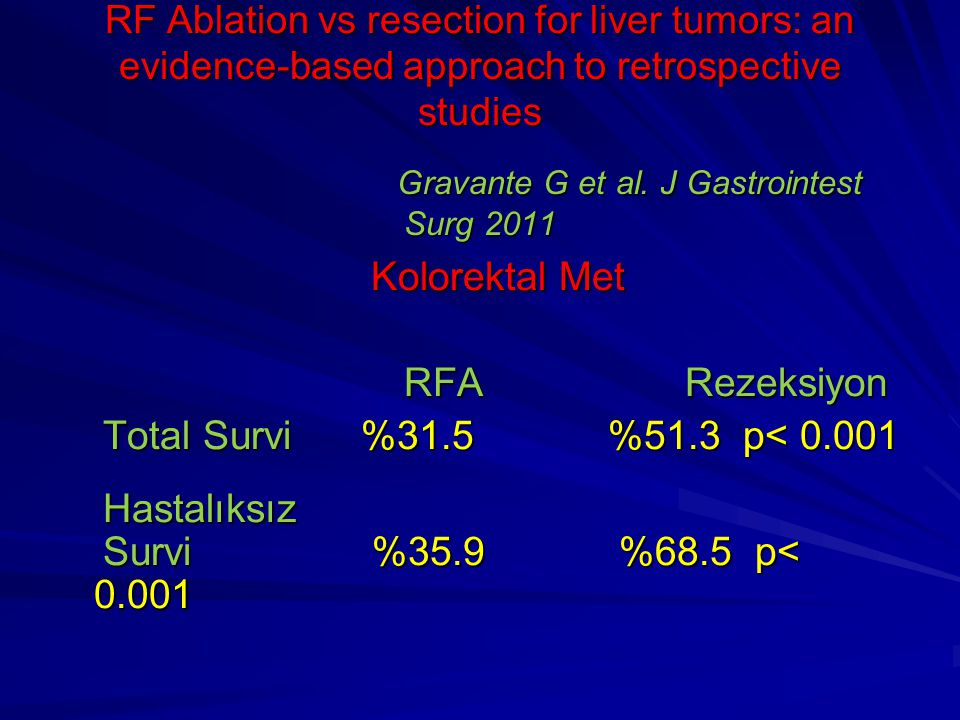 RF Ablation vs resection for liver tumors: an evidence-based approach to retrospective studies Gravante G et al. J Gastrointest Surg 2011