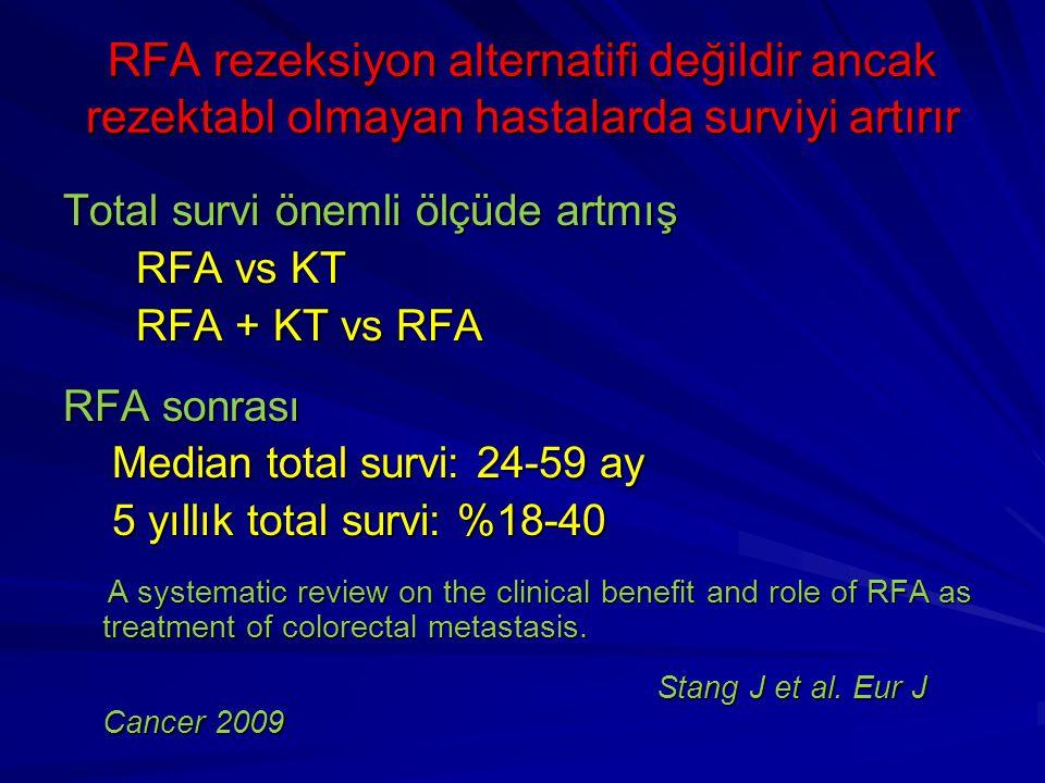 RFA rezeksiyon alternatifi değildir ancak rezektabl olmayan hastalarda surviyi artırır