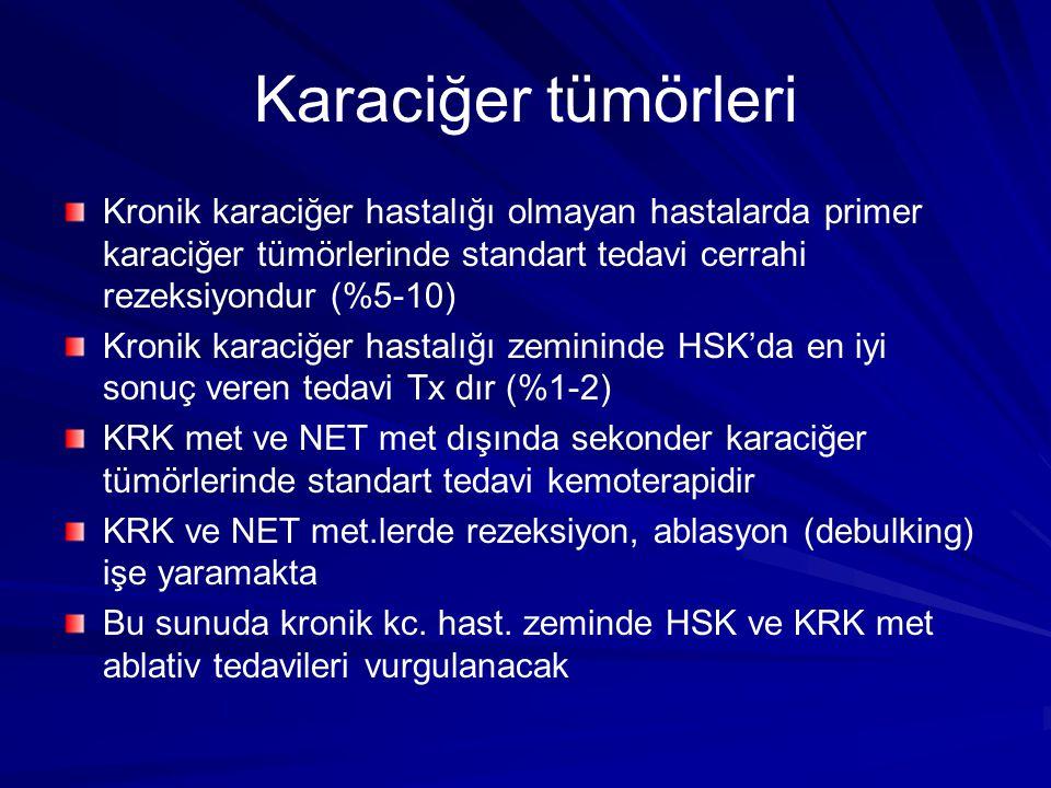 Karaciğer tümörleri Kronik karaciğer hastalığı olmayan hastalarda primer karaciğer tümörlerinde standart tedavi cerrahi rezeksiyondur (%5-10)