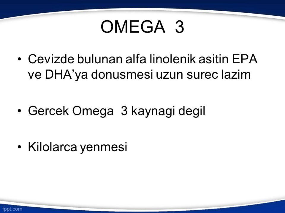 OMEGA 3 Cevizde bulunan alfa linolenik asitin EPA ve DHA'ya donusmesi uzun surec lazim. Gercek Omega 3 kaynagi degil.
