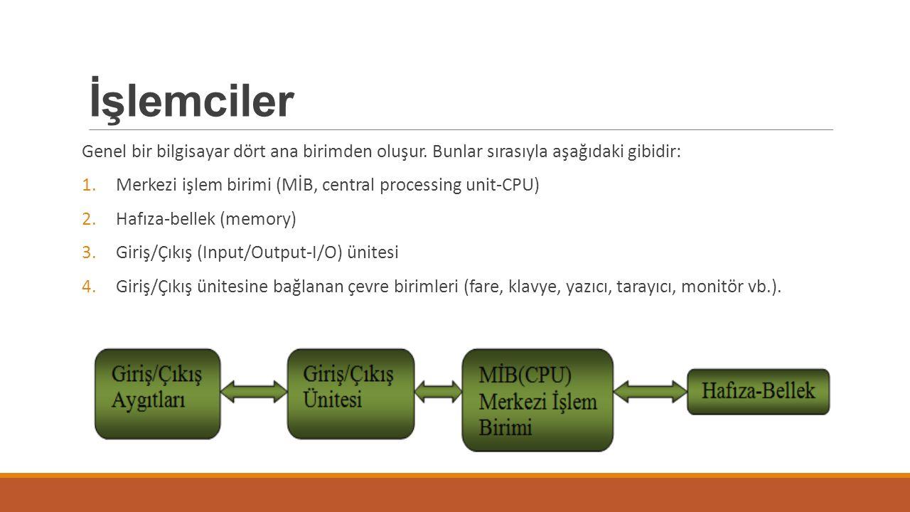 İşlemciler Genel bir bilgisayar dört ana birimden oluşur. Bunlar sırasıyla aşağıdaki gibidir: