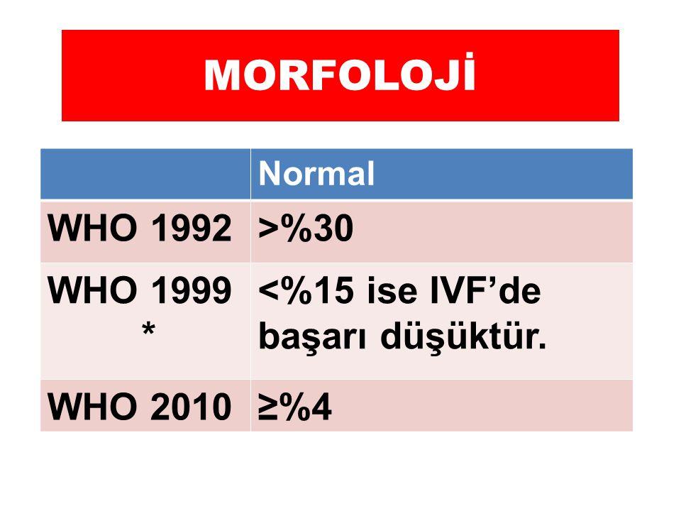 MORFOLOJİ WHO 1992 >%30 WHO 1999 *