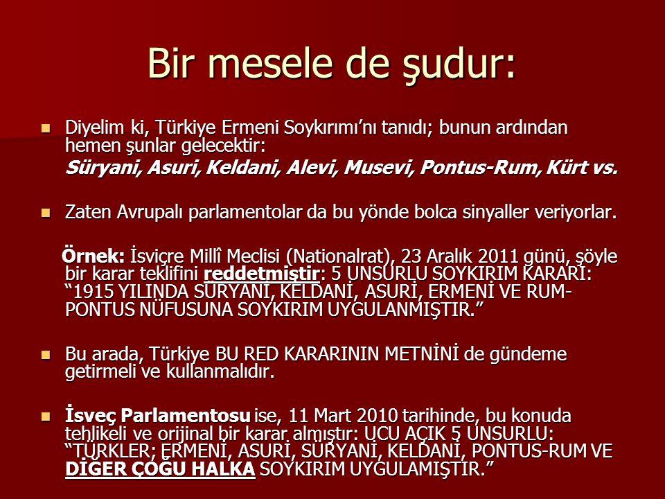 Bir mesele de şudur: Diyelim ki, Türkiye Ermeni Soykırımı'nı tanıdı; bunun ardından hemen şunlar gelecektir: