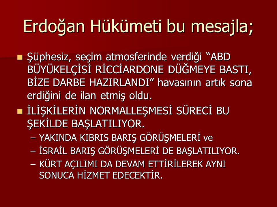 Erdoğan Hükümeti bu mesajla;