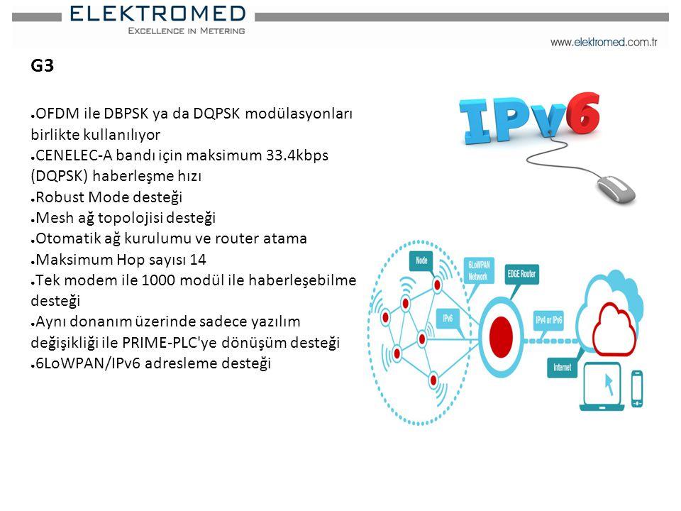 G3 OFDM ile DBPSK ya da DQPSK modülasyonları birlikte kullanılıyor