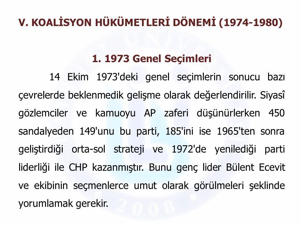 V. KOALİSYON HÜKÜMETLERİ DÖNEMİ (1974-1980)