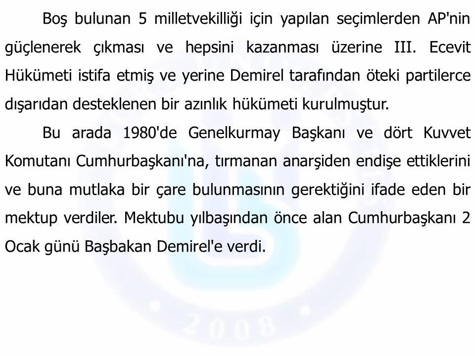 Boş bulunan 5 milletvekilliği için yapılan seçimlerden AP nin güçlenerek çıkması ve hepsini kazanması üzerine III. Ecevit Hükümeti istifa etmiş ve yerine Demirel tarafından öteki partilerce dışarıdan desteklenen bir azınlık hükümeti kurulmuştur.
