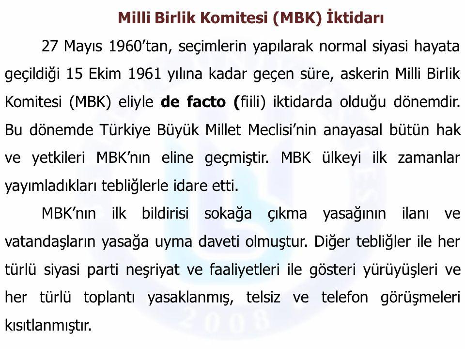 Milli Birlik Komitesi (MBK) İktidarı