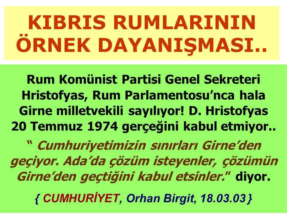 KIBRIS RUMLARININ ÖRNEK DAYANIŞMASI..