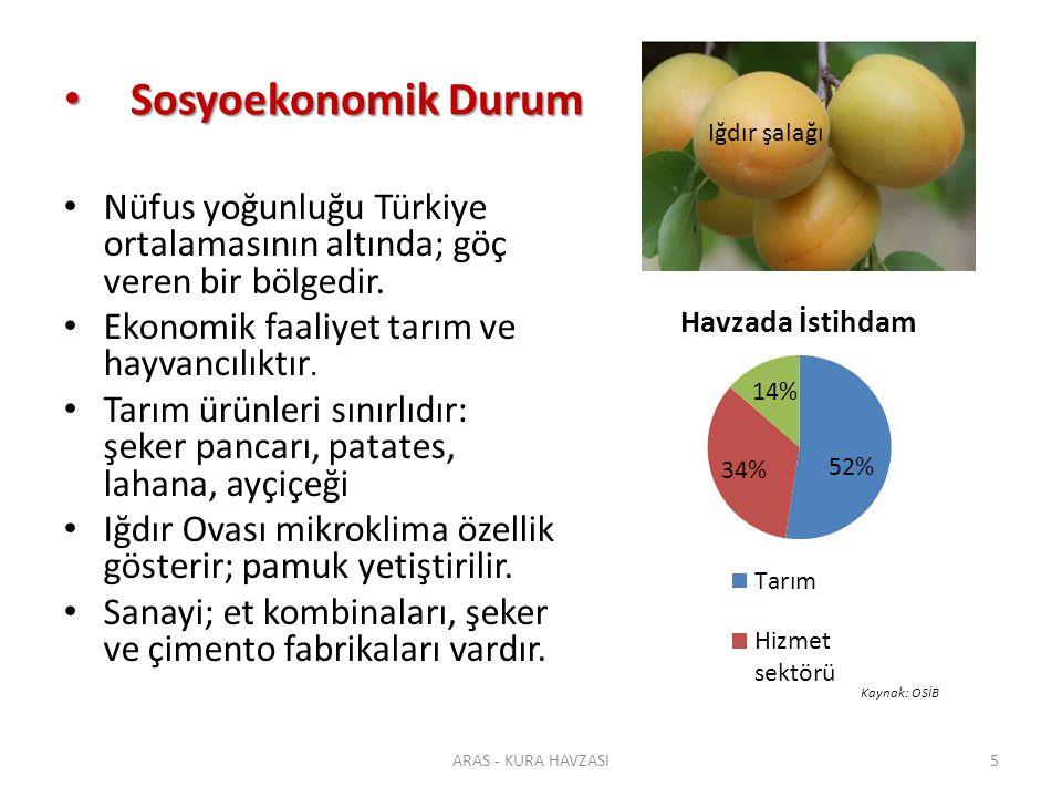 Sosyoekonomik Durum Iğdır şalağı. Nüfus yoğunluğu Türkiye ortalamasının altında; göç veren bir bölgedir.