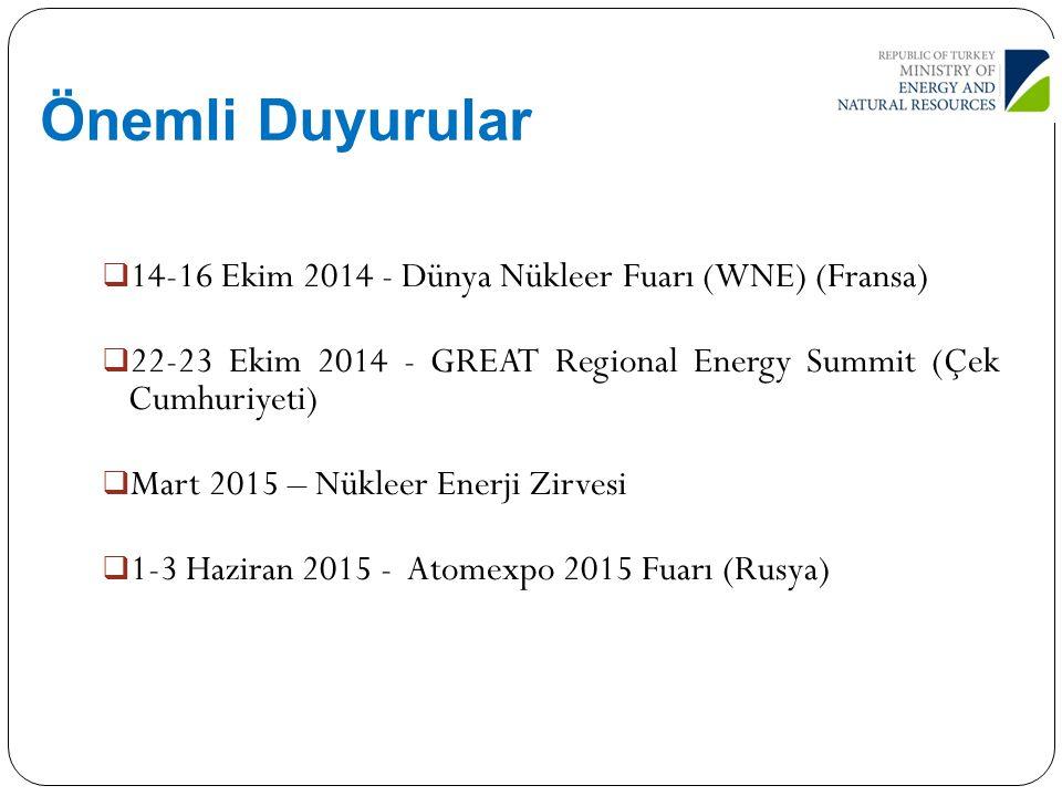 Önemli Duyurular 14-16 Ekim 2014 - Dünya Nükleer Fuarı (WNE) (Fransa)