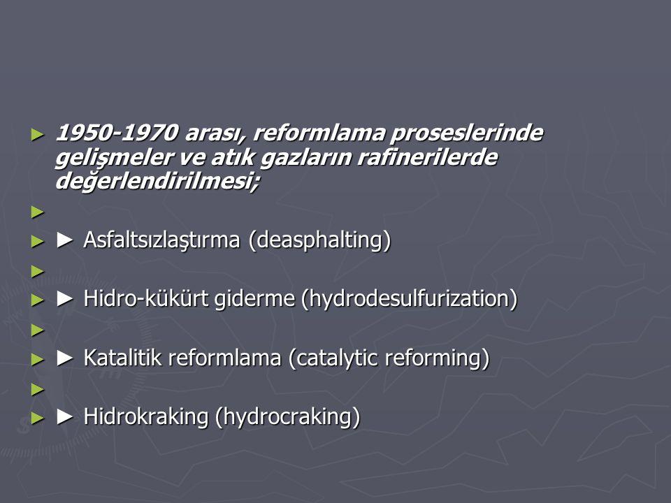 1950-1970 arası, reformlama proseslerinde gelişmeler ve atık gazların rafinerilerde değerlendirilmesi;