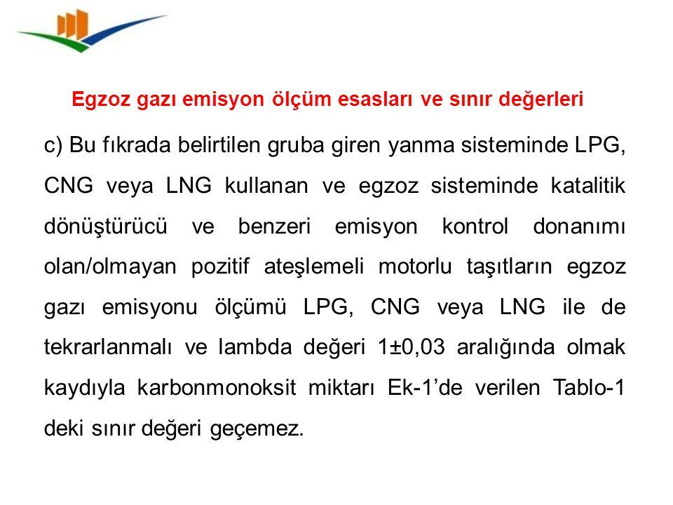 Egzoz gazı emisyon ölçüm esasları ve sınır değerleri
