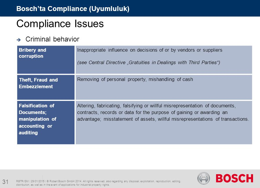 Compliance Issues Bosch'ta Compliance (Uyumluluk) Criminal behavior