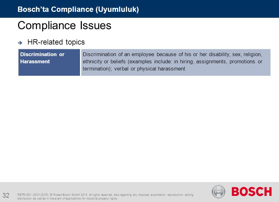 Compliance Issues Bosch'ta Compliance (Uyumluluk) HR-related topics