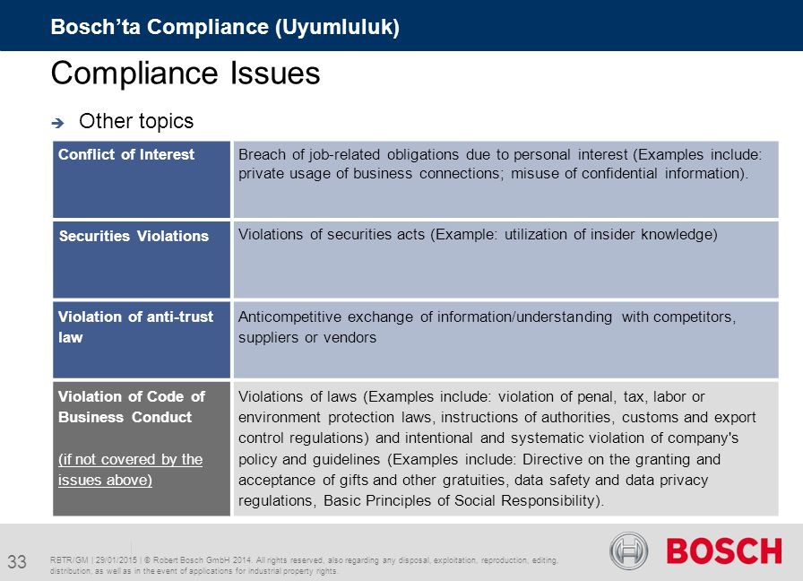Compliance Issues Bosch'ta Compliance (Uyumluluk) Other topics