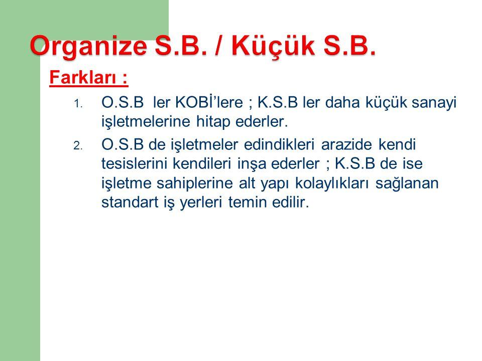 Organize S.B. / Küçük S.B. Farkları :