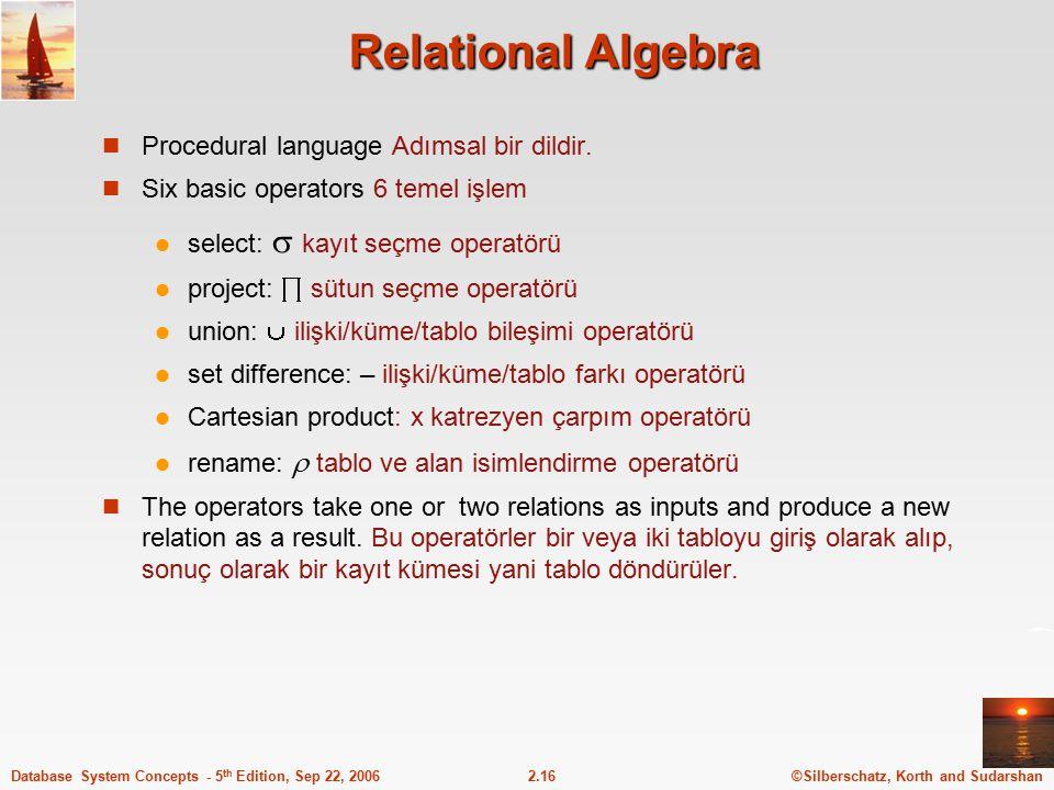 Relational Algebra Procedural language Adımsal bir dildir.