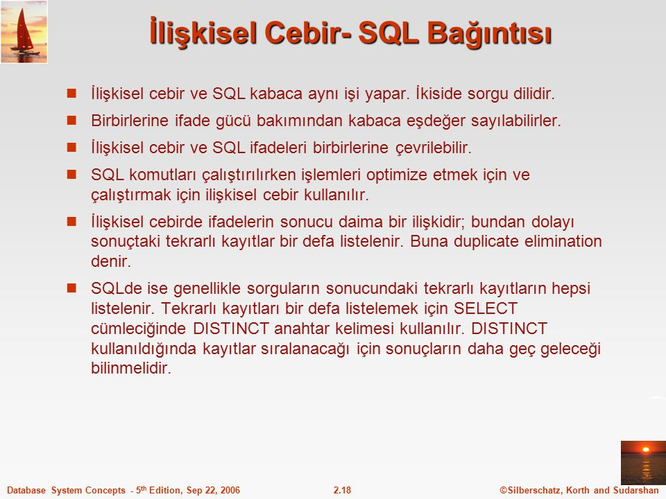 İlişkisel Cebir- SQL Bağıntısı