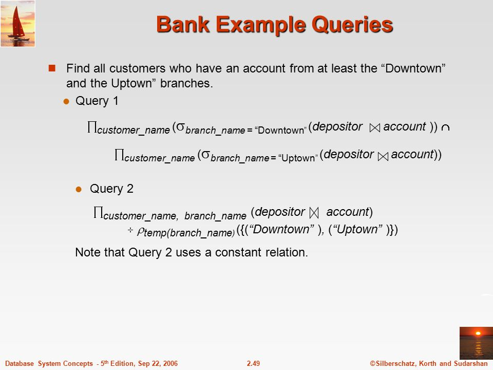 Bank Example Queries Find all customers who have an account from at least the Downtown and the Uptown branches.