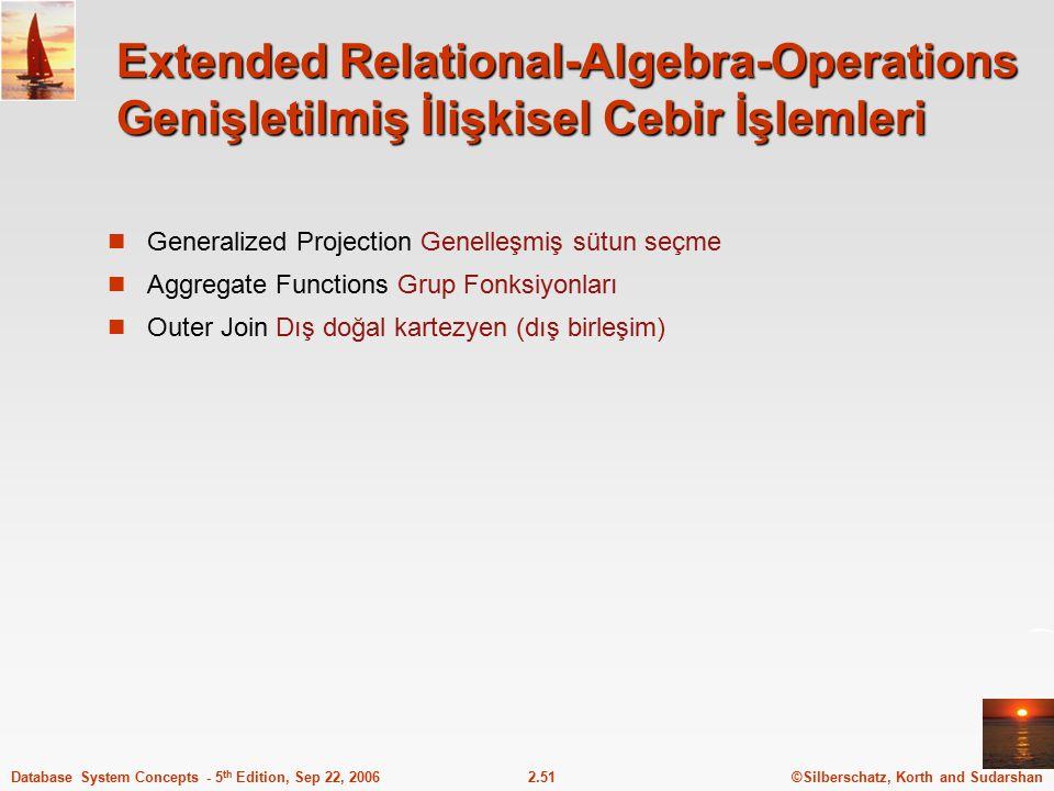 Extended Relational-Algebra-Operations Genişletilmiş İlişkisel Cebir İşlemleri