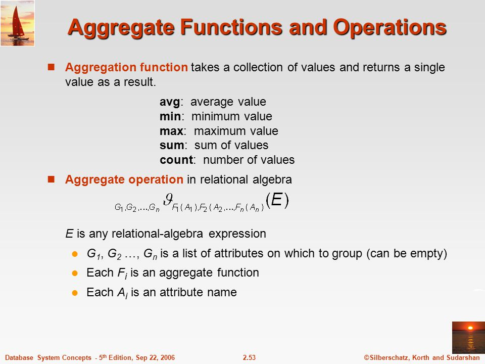Aggregate Functions and Operations