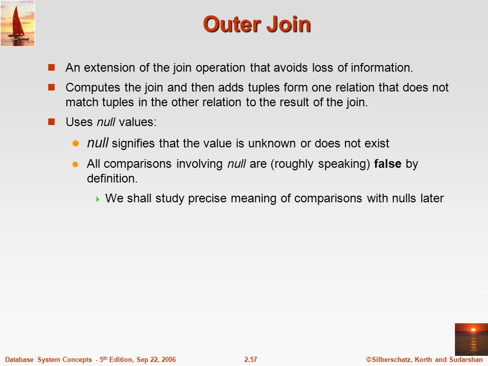 Outer Join null signifies that the value is unknown or does not exist