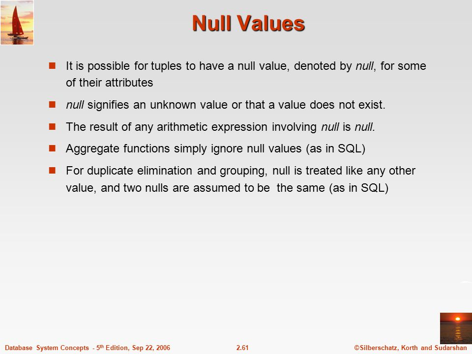 Null Values It is possible for tuples to have a null value, denoted by null, for some of their attributes.