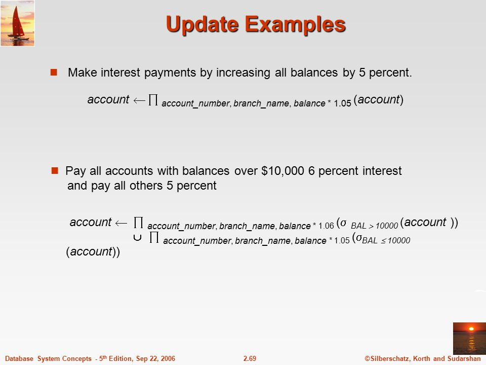 Update Examples Make interest payments by increasing all balances by 5 percent. account   account_number, branch_name, balance * 1.05 (account)