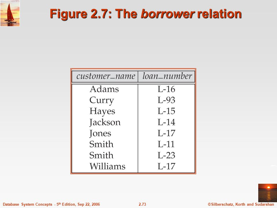 Figure 2.7: The borrower relation