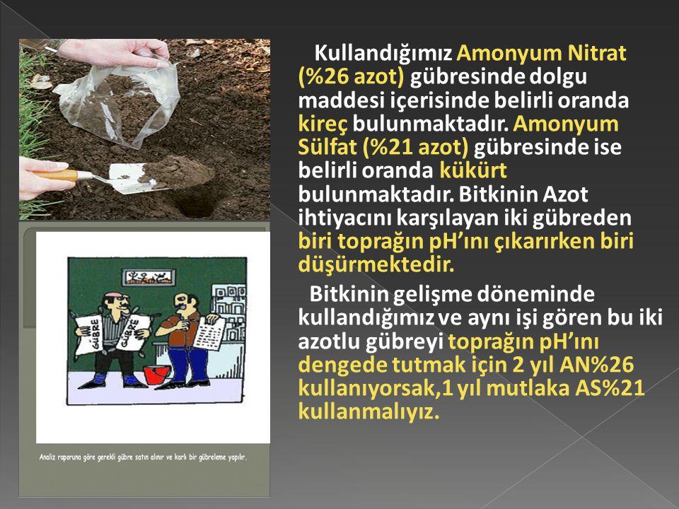 Kullandığımız Amonyum Nitrat (%26 azot) gübresinde dolgu maddesi içerisinde belirli oranda kireç bulunmaktadır.