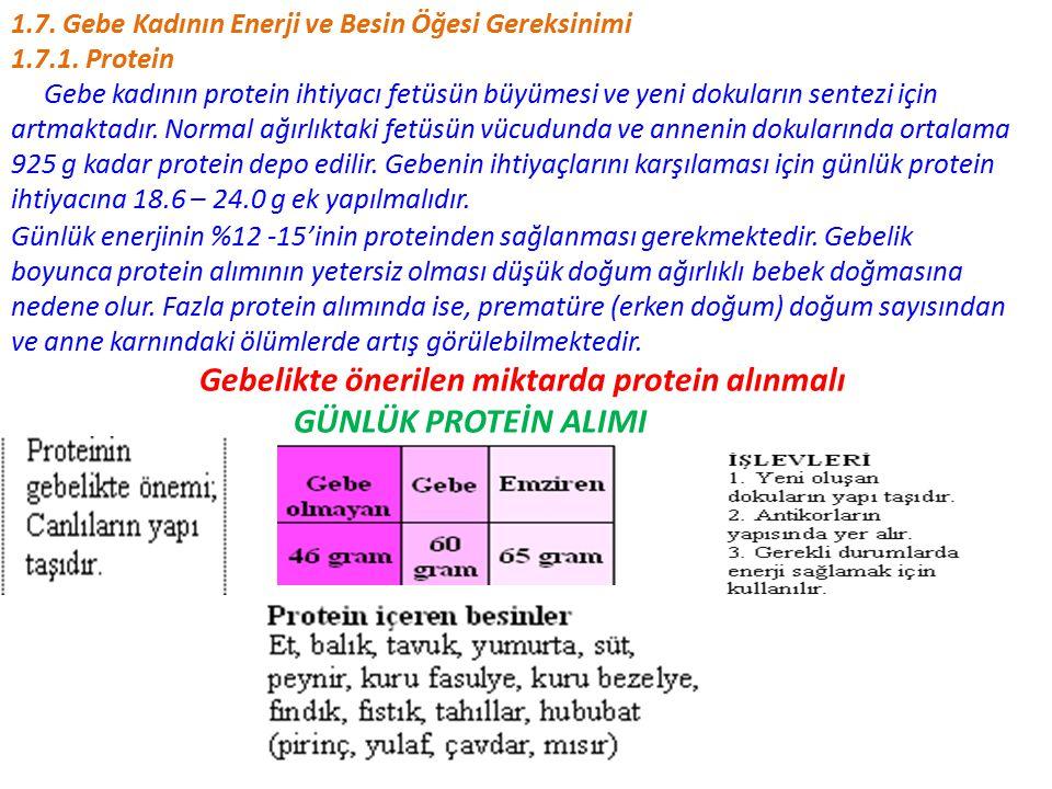 Gebelikte önerilen miktarda protein alınmalı