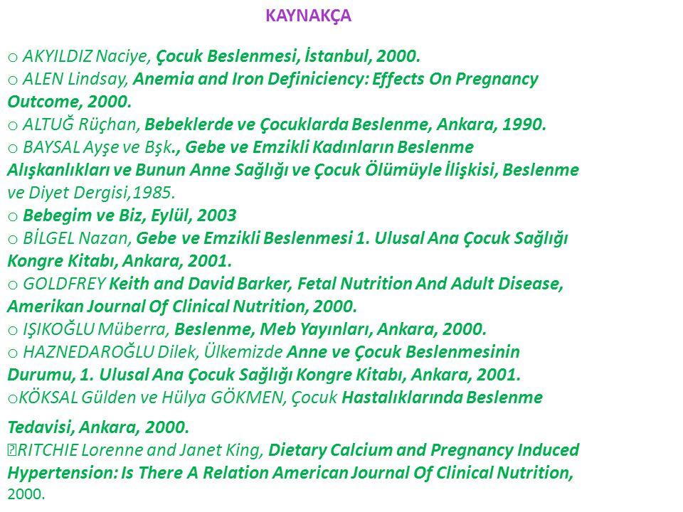 AKYILDIZ Naciye, Çocuk Beslenmesi, İstanbul, 2000.