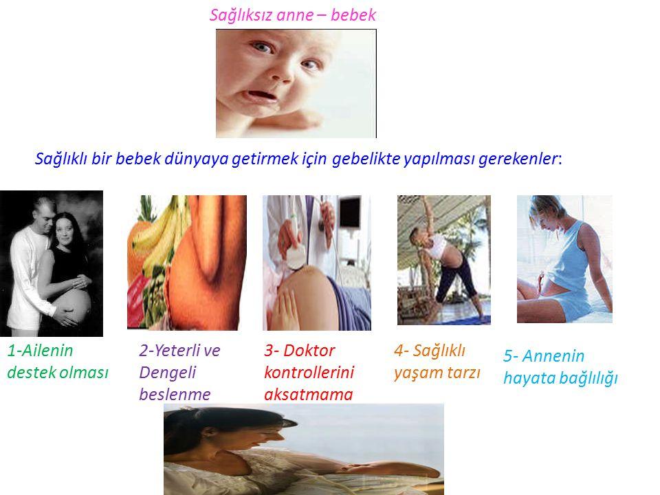 Sağlıksız anne – bebek Sağlıklı bir bebek dünyaya getirmek için gebelikte yapılması gerekenler: 1-Ailenin destek olması.