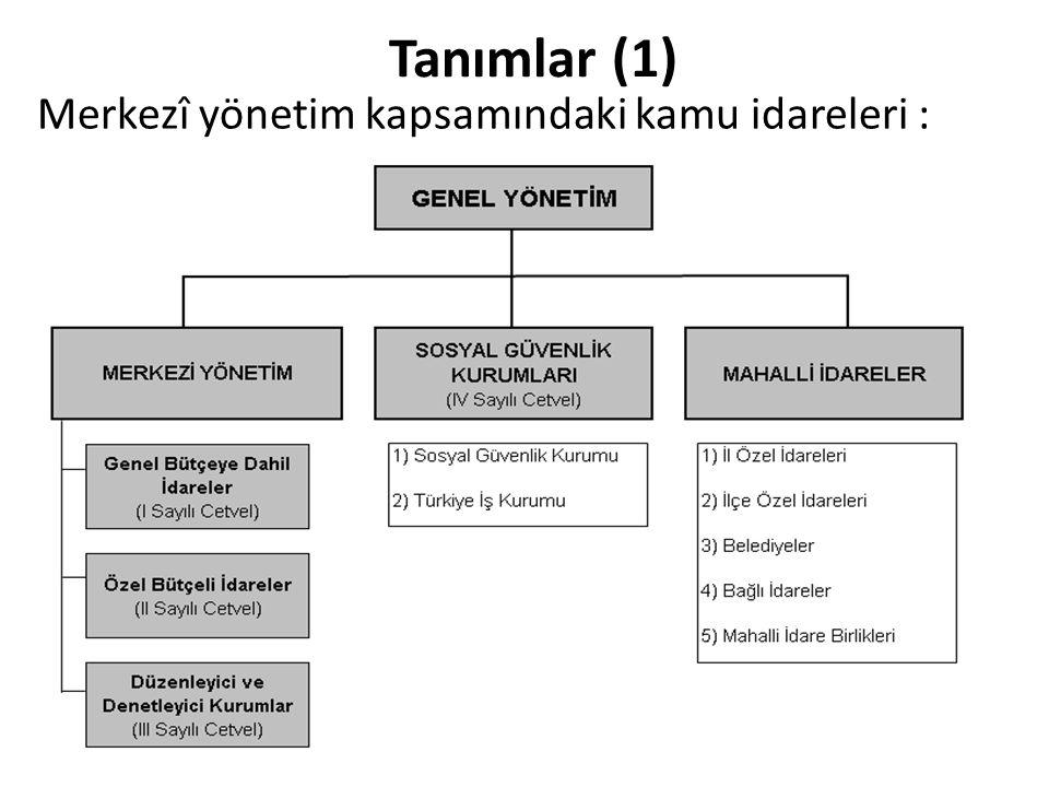 Merkezî yönetim kapsamındaki kamu idareleri :