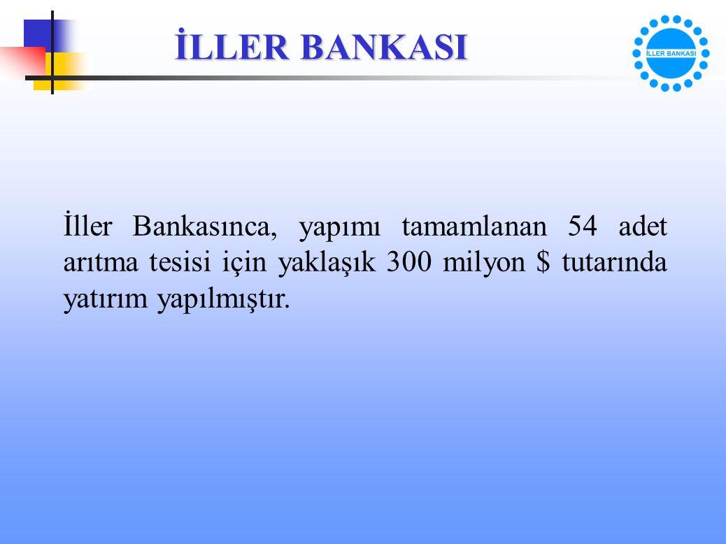 İller Bankasınca, yapımı tamamlanan 54 adet arıtma tesisi için yaklaşık 300 milyon $ tutarında yatırım yapılmıştır.