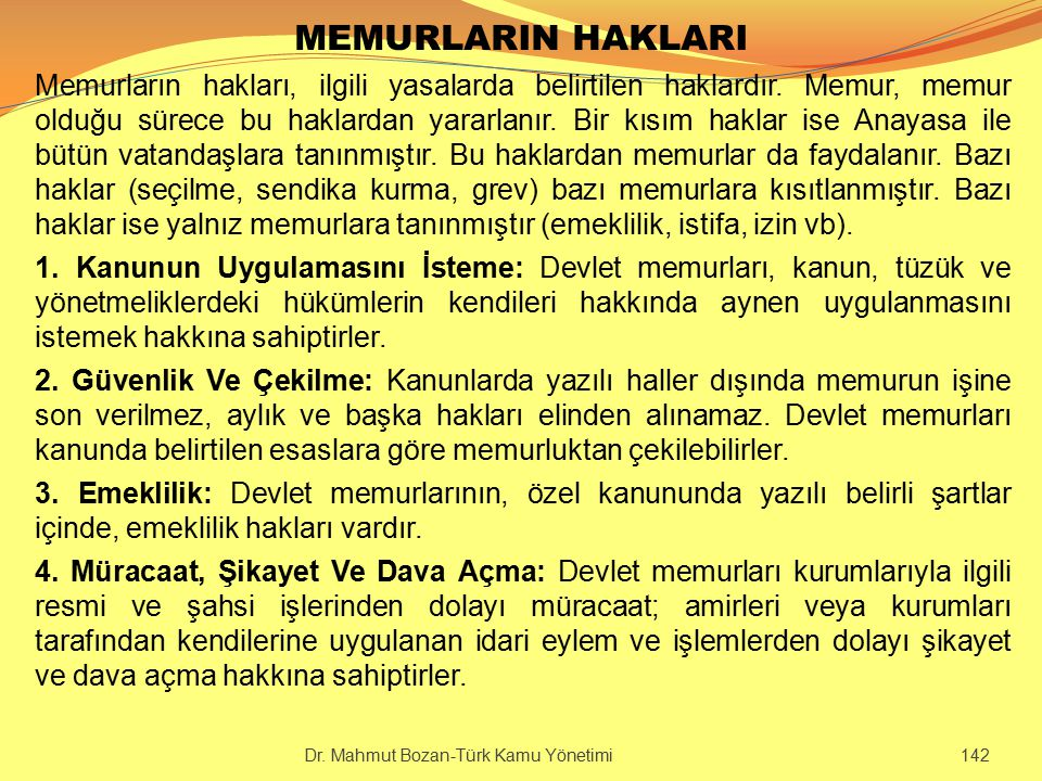 MEMURLARIN HAKLARI
