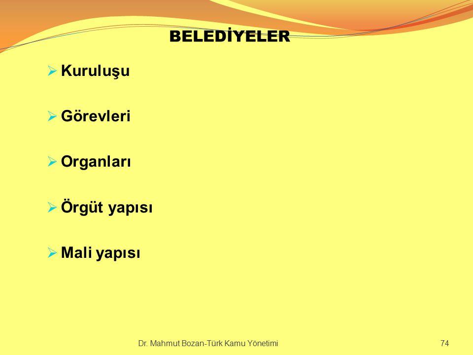 BELEDİYELER Kuruluşu Görevleri Organları Örgüt yapısı Mali yapısı