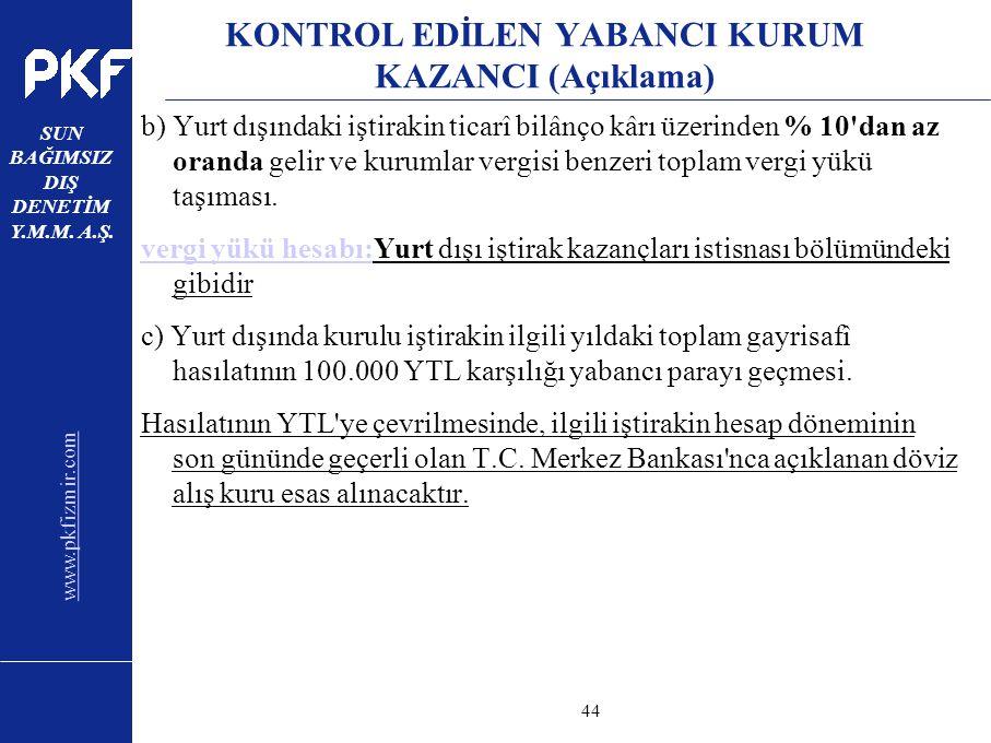 KONTROL EDİLEN YABANCI KURUM KAZANCI (Açıklama)