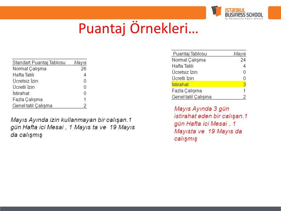 Puantaj Örnekleri… Puantaj Tablosu. Mayıs. Normal Çalışma. 24. Hafta Tatili. 4. Ücretsiz İzin.