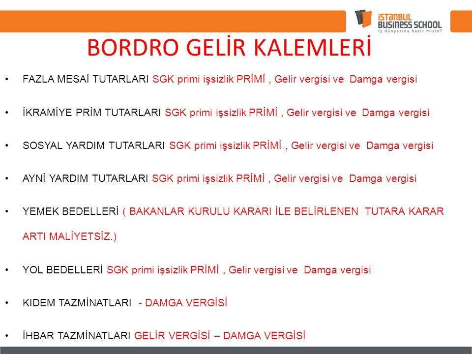 BORDRO GELİR KALEMLERİ