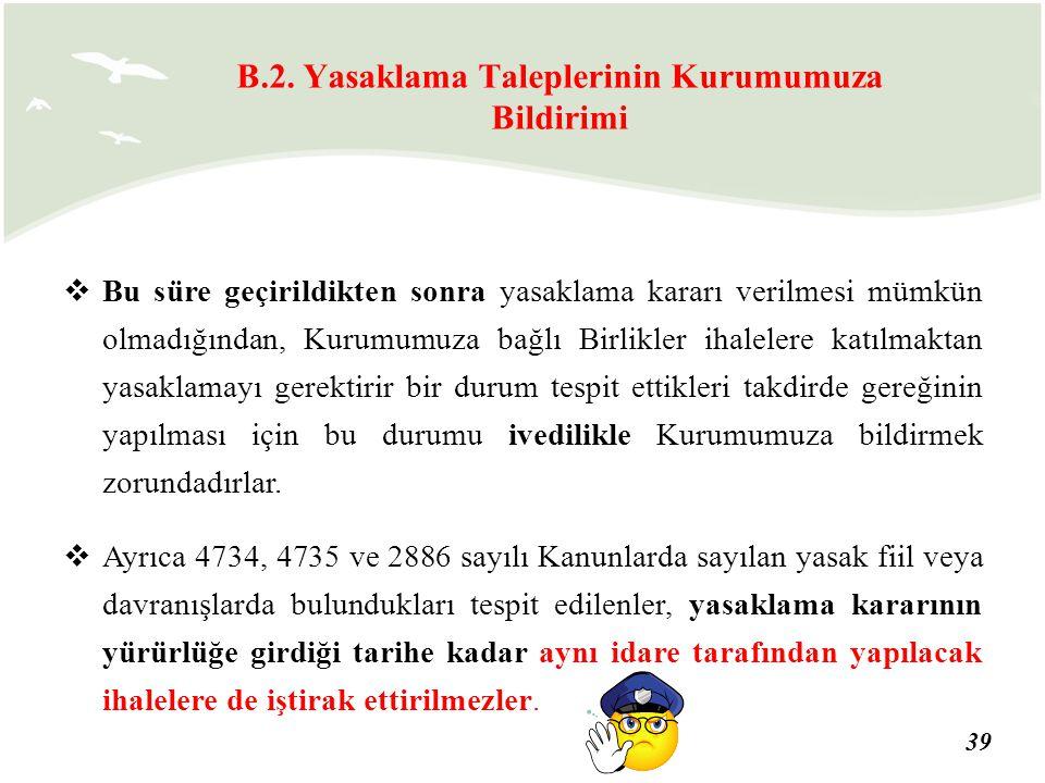 B.2. Yasaklama Taleplerinin Kurumumuza Bildirimi