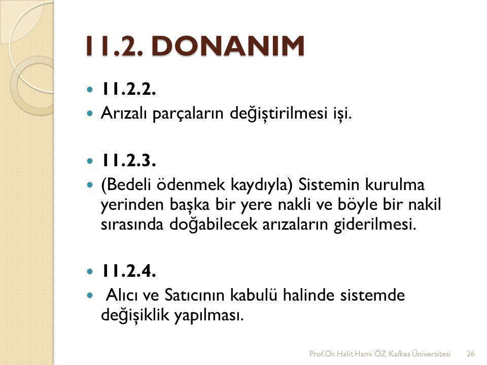 11.2. DONANIM 11.2.2. Arızalı parçaların değiştirilmesi işi. 11.2.3.