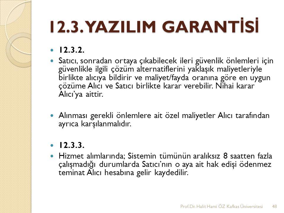 12.3. YAZILIM GARANTİSİ 12.3.2.